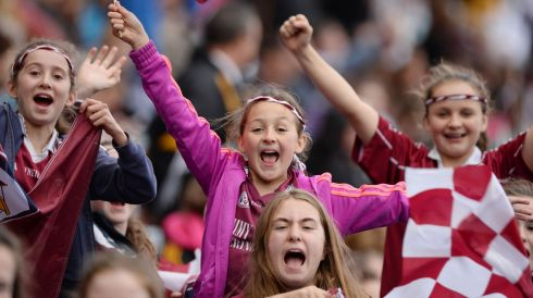 Galway Supporters cheer on their team during  the All Ireland Camogie Final between Kilkenny and Galway at Croke Park. Photograph: Alan Betson / THE IRISH TIMES