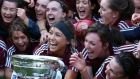 Members of the Galway team celebrate their victory over Kilkenny as they claimed the Liberty Insurance Senior Camogie Championship at Croke Park. Photograph:  Dan Sheridan/Inpho