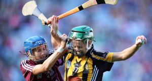 Therese Manton of Galway (left) and  and Kilkenny's Collette Dormer contest possession during the All-Ireland senior camogie final at Croke Park. Photograph: Cathal Noonan/Inpho