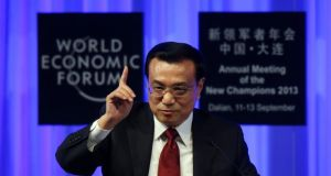 Li Keqiang, China's premier, speaks during the opening plenary at the World Economic Forum annual meeting in Dalian, China. Photograph: Tomohiro Ohsumi/Bloomberg