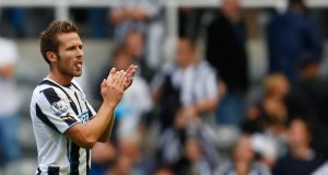 Yohan Cabaye  of Newcastle claps the home fans after the Premier League match against Fulham at the St James's Park. Photograph: Paul Thomas/Getty Images