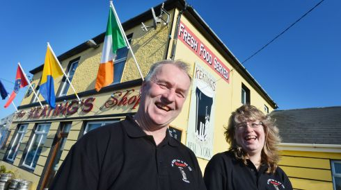 Bernie and Helen Keating outside their gastro bar at Kilbaha, Carrigaholt, Co Clare. Photograph: Alan Betson/The Irish Times