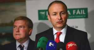 Fianna Fáil leader Micheál Martin (right) and the party's finance spokesman Michael McGrath, speaking at his party's meeting in Waterford today. Photograph: Bryan O'Brien / The Irish Times.