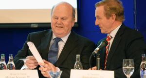 Taoiseach Enda Kenny and the Minister for Finance Michael Noonan at the Fine Gael Parliamentary Party conference, in Killenard, Co Laois today. Photograph: Eric Luke / THE IRISH TIMES