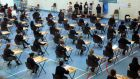 "First day of the leaving cert exam – ""challenge of cultural diversity is to empower people of different ethnic, religious and philosophical heritage to work together."" PHOTOGRAPH: DARA MAC DÓNAILL / THE IRISH TIMES"