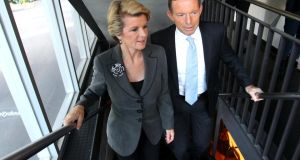 Australia's prime minister-elect Tony Abbott  Julie Bishop, the only female cabinet member. Photograph: Getty Images
