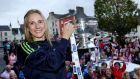 Galway centre half back  Therese Maher   with the O'Duffy Cup in Ballinasloe. Photograph: James Crombie/Inpho