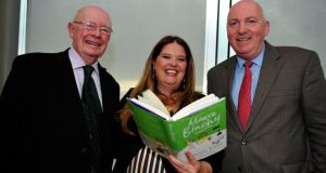 Gordon Snell (left), husband of Maeve Binchy, with Roisin Ingle and Denis Staunton of The Irish Times at the book launch last night. Photograph: Aidan Crawley