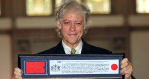 Singer Bob Geldof receives the Freedom of the City of London. Photograph:  Sean Dempsey/PA