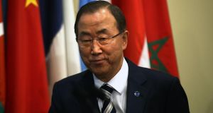 United Nations Secretary-General Ban Ki-moon prepares to speak to the media about the conclusion of the UN inspectors' report on chemical weapons use in Syria. Photograph: Spencer Platt/Getty Images