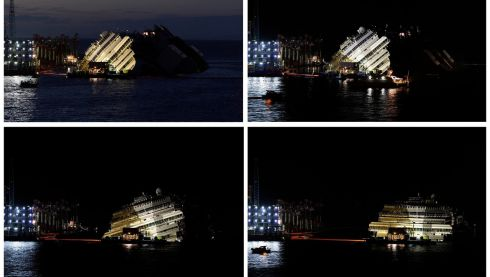 "A combination photo shows the capsized cruise liner Costa Concordia during and at the end of (bottom R) the ""parbuckling"" operation outside Giglio harbour. Photograph: Reuters"