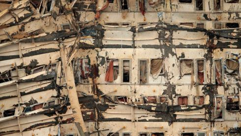 The damaged side of the capsized cruise liner Costa Concordia is seen at the end of the 'parbuckling' operation. Salvage crews on the Italian island of Giglio raised the Costa Concordia cruise liner early today. Photograph: Reuters
