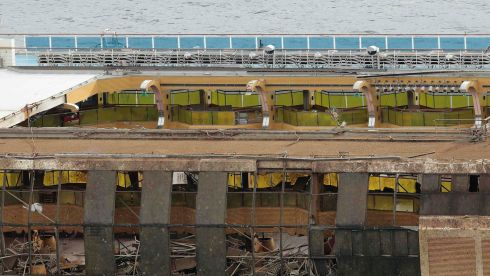 The damaged side of the capsized cruise liner after a 19-hour operation to raise it. Photograph: Reuters/Tony Gentile
