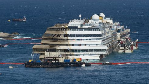 The righted Costa Concordia, which sank on January 12th, 2012.  Photograph: Marco Secchi/Getty Images