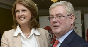 Minister for Social Protection Joan Burton and Tánaiste Eamon Gilmore in the Johnstown House Hotel, Enfield, Co Meath for the annual Labour think-in which took place yesterday and today Photograph: Brenda Fitzsimons / THE IRISH TIMES .