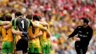 Donegal selector Rory Gallagher beside the team huddle ahead of the 2012 All-Ireland semi-final. Photograph: James Crombie/Inpho