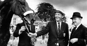 Bing Crosby pictured in August 1967 with his horse, Dominion Day, which won the Blandford Stakes at the Curragh with trainer  Paddy Prendergast. Photograph: Dermot Barry/The Irish Times