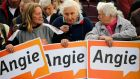 Elderly supporters hold placards backing German chancellor and conservative Christian Democratic Union (CDU) leader Angela Merkel, at a CDU election campaign rally in Magdeburg yesterday. Merkel is seeking a third term in a parliamentary election on September 22nd. Photograph: Fabrizio Bensch/Reuters