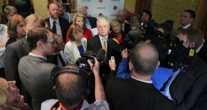 Tánaiste and Minister for Foreign Affairs and Trade, Eamon Gilmore TD, talks to the media on the second day of the Labour's parliamentary party annual think-in at Johnstown House in Co Meath yesterday. Photograph: Mark Stedman/Photocall Ireland