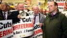 IFA President John Bryan speaks to farmers in Tesco in Maynooth. The IFA took part in a protest at Tesco, Supervalu and Aldi outlets in Maynooth, Co Kildare. Photograph: Finbarr O'Rourke.