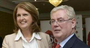 Joan Burton  and Tánaiste Eamon Gilmore  at the annual Labour  think-in. Photograph: Brenda Fitzsimons