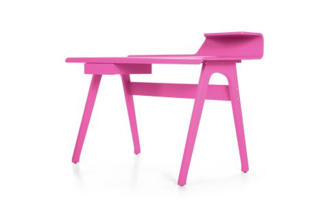 THREE OF THE BEST . . . DESKS: This Cornell flamingo-pink desk (125cm by 61cm by 89cm, including shelf) is made of plywood and has a painted veneer finish. It costs £279 (about €332), excluding delivery, from UK company made.com. It is also available in robin-egg blue and ash.