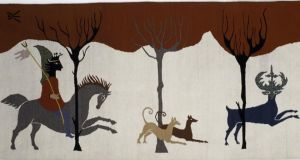 Hunting Scene, tapestry, 41.5 x 94.5 inches