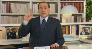 TV  image of former Italian premiere Silvio Berlusconi making a 16-minute pre-recorded speech broadcast yesterday on major Italian TV newtworks. Photograph: AP Photo/Mediasat TV
