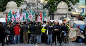 The People's Assembly protest outside the Dáil last night.