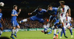 Basel's Marco Streller (right) scores the winner  against Chelsea at Stamford Bridge. Photograph: Dylan Martinez/Reuters