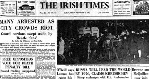 Many arrested as city crowds riot: the front page of The Irish Times from November 8th, 1963