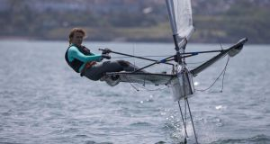 Annalise Murphy competing on her foiling-type Moth dinghy in Dun Laoghaire earlier this summer. Photograph: David Branigan/Oceansport