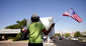 Protest: demonstrators outside Southwestern Women's Options, the clinic in Albuquerque where Dr Shelley Sella works. Photograph: Mark Holm/New York Times