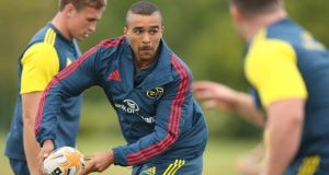 Munster's Simon Zebo during training. Photograph: Billy Stickland/Inpho