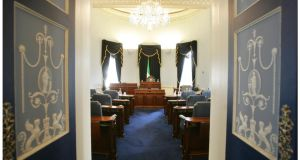 Seanad chamber. Minister for Jobs and Enterprise Richard Bruton  has said that when government referendum campaigns were defeated in the past, there had been a discernible shift in polls from Yes to No in the months and weeks leading up the poll, with more dramatic shifts in the final weeks.