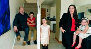 Finely balanced: Sarah Hargaden and Brian Killeen at home in Shankill, Co Dublin,  with their children, Danny,  Beth and Alice.Photograph: Aidan Crawley