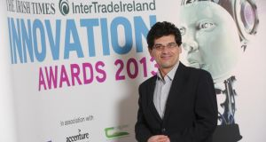 Prof Faris Ali, who developed a new building system which offers enhanced protection for personnel and buildings against fires and blasts, at The Irish Times InterTradeIreland Innovation Awards 2013 presentation at The Irish Times Building, Dublin. PHOTOGRAPH: CONOR McCABE