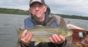 Oliver McCormack with his magnificent trout of 2.6kg (5.75lb) caught and returned on Lough Sheelin last Wednesday