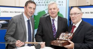 From left: Dr Cathal Gallagher of IFI, Minister of State for Natural Resources Fergus O'Dowd TD and IFI chairman Brendan O'Mahony at the CSTP presentation at in Drogheda