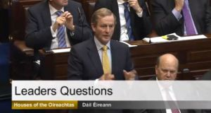 Enda Kenny during leaders questions in the Dáil on Wednesday. He said he didn't want to embarrass Micheál Martin by debating the Seanad referendum with him on RTÉ. Photograph: Oireachtas TV screen grab