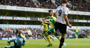"Tottenham Hotspur's Roberto Soldado   flicks the ball with his heel as it is saved by Norwich City's goalkeeper John Ruddy during their recent Premier League   match at White Hart Lane in London – ""Visitors  have for many decades been surprised by chants identifying the team and its supporters as 'the Yids'."" PHOTOGRAPH:   REUTERS/DYLAN MARTINEZ"