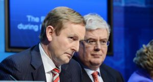 "Taoiseach Enda Kenny and Tanaiste Eamon Gilmore – ""Government has timed a vote 10 days before Budget day,"" a useful distraction .PHOTOGRAPH: ALAN BETSON / THE IRISH TIMES"