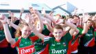 Schoolchildren sing along to Time to say Mayo in the county yesterday.