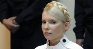 Former Ukrainian prime minister Yulia Tymoshenko:  trade agreements between Ukraine and the EU hinge on whether president Viktor Yanukovich can bring himself to release her. Photograph: Sergei Chuzavkov/AP