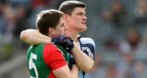 Dublin's Diarmuid Connolly and Lee Keegan of Mayo will renew their rivalry in Sunday's decider.  Photograph: James Crombie/Inpho