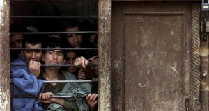 A file photograph of former Taliban fighters sitting in their cells in the prison in northern Afghan town of Shibirgan. Photograph: Shamil Zhumatov/Reuters.