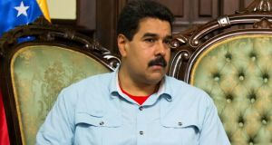 Venezuela's president Nicolas Maduro attends a meeting with  in Caracas on Thursday. Photograph: Carlos Garcia/Reuters.