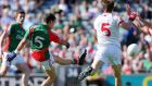 Mayo's Tommy Conroy scores the first goal of the All-Ireland Minor Championship Final against Tyrone at Croke Park. Photograph:  Donall Farmer/Inpho