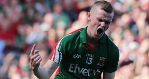 Mayo's Darragh Doherty celebrates scoring a goal against Tyrone in the All-Ireland minor football  final. Photograph: Lorraine O'Sullivan/Inpho