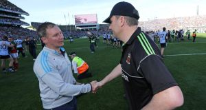 Dublin manager Jim Gavin shakes hands with Mayo manager James Horan after the game. Photograph: Morgan Treacy/Inpho